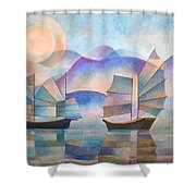Shades Of Tranquility Shower Curtain by Tracey Harrington-Simpson