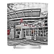 Shadow Of The Stadium Shower Curtain by Scott Pellegrin