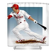 Shane Victorino Shower Curtain by Scott Weigner