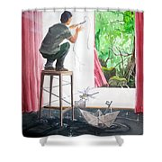 Shaping The Peace Listen With Music Of The Description Box Shower Curtain by Lazaro Hurtado