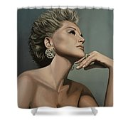 Sharon Stone Shower Curtain by Paul  Meijering