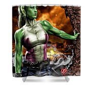 She-hulk Shower Curtain by Pete Tapang