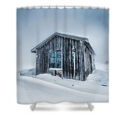 Shed In The Blizzard Shower Curtain by Evgeni Dinev