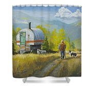 Sheep Camp Shower Curtain by Jerry McElroy