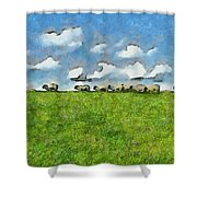Sheep Herd Shower Curtain by Ayse Deniz