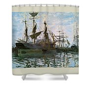 Ships In Harbor Shower Curtain by Claude Monet - L Brown