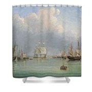 Ships Off Ryde Shower Curtain by Arthur Wellington Fowles