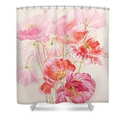 Shirley Poppies Shower Curtain by Joan Thewsey