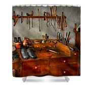 Shoemaker - The Cobblers Shop Shower Curtain by Mike Savad