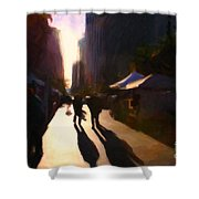 Shopping Stands Along Market Street At San Francisco's Embarcadero - 5d20841 Shower Curtain by Wingsdomain Art and Photography