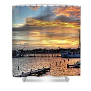 Shrimp Boats At Sunset Shower Curtain by Benanne Stiens