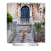 Sicilian Village Steps And Door Shower Curtain by David Smith