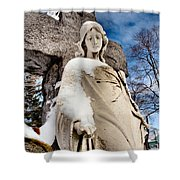 Silent Winter Angel Shower Curtain by Gothicolors Donna Snyder