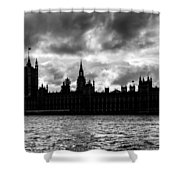 Silhouette Of  Palace Of Westminster And The Big Ben Shower Curtain by Semmick Photo