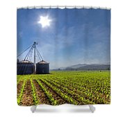 Silos Shower Curtain by Debra and Dave Vanderlaan