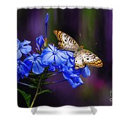 Silver and Gold Shower Curtain by Lois Bryan