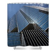 Silver Lines To The Sky - Downtown Toronto Skyscraper Shower Curtain by Georgia Mizuleva