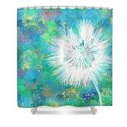 Silverpuff Dandelion Wish Shower Curtain by Nikki Marie Smith