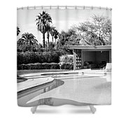 Sinatra Pool And Cabana Bw Palm Springs Shower Curtain by William Dey
