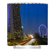 Singapore Evening Shower Curtain by Mountain Dreams