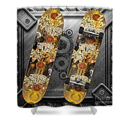 Skateboard Shower Curtain by Mo T