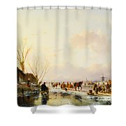 Skaters by a Booth on a Frozen River Shower Curtain by Andreas Schelfhout