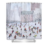 Skating Rink Central Park New York Shower Curtain by Judy Joel