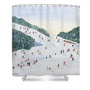 Ski vening Shower Curtain by Judy Joel