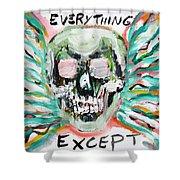 Skull Quoting Oscar Wilde.7 Shower Curtain by Fabrizio Cassetta
