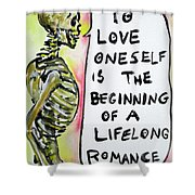 Skull Quoting Oscar Wilde.9 Shower Curtain by Fabrizio Cassetta