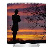 Sky Fire - 124th Ny Infantry Orange Blossoms-1a Sickles Ave Devils Den Sunset Autumn Gettysburg Shower Curtain by Michael Mazaika