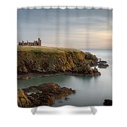 Slains Castle Sunrise Shower Curtain by Dave Bowman