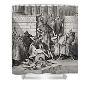 Slaughter Of The Sons Of Zedekiah Before Their Father Shower Curtain by Gustave Dore