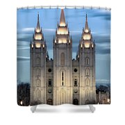 Slc Temple Blue Shower Curtain by La Rae  Roberts