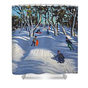 Sledging At Ladmanlow Shower Curtain by Andrew Macara
