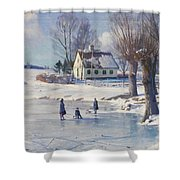 Sledging on a Frozen Pond Shower Curtain by Peder Monsted