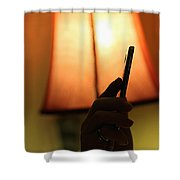 Sleep-texting Shower Curtain by Trish Mistric