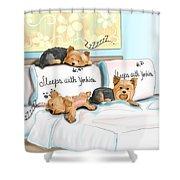 Sleeps With Yorkies Shower Curtain by Catia Cho