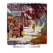 Small Talk in Elmwood Ave Shower Curtain by Ylli Haruni