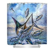 Small Tuna And Blue Marlin Jumping Shower Curtain by Terry Fox
