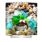Smiley Face Beach Seaglass Blue Green Art Prints Shower Curtain by Baslee Troutman
