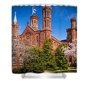 Smithsonian Castle Wall Shower Curtain by Inge Johnsson