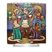 Smoking Belly Dancers Shower Curtain by Anthony Falbo