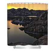 Smoky Sunset On Watson Lake Shower Curtain by Dave Dilli
