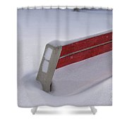 Snow Covered Bench Shower Curtain by Thomas Woolworth