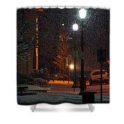 Snow In Downtown Grants Pass - 5th Street Shower Curtain by Mick Anderson