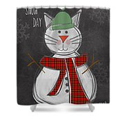 Snow Kitten Shower Curtain by Linda Woods