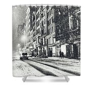 Snow - New York City - Winter Night Shower Curtain by Vivienne Gucwa
