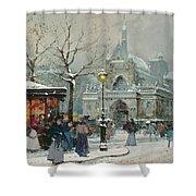 Snow Scene in Paris Shower Curtain by Eugene Galien-Laloue