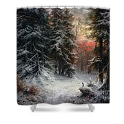 Snow Scene In The Black Forest Shower Curtain by Carl Friedrich Wilhelm Trautschold